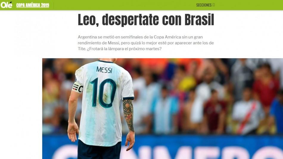 Portada Olé de Argentina.