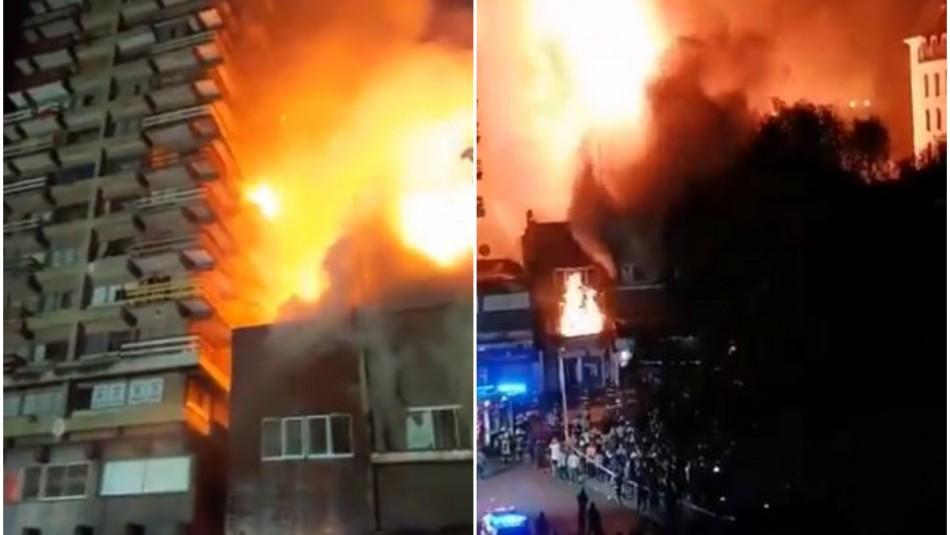 Violento incendio afectó locales comerciales y edificios residenciales en el centro de Osorno