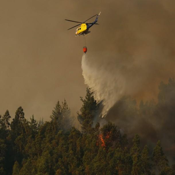Chiguayante: Incendio ha consumido 450 hectáreas y se extendió hasta Reserva Nacional