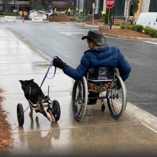 Hombre adopta a perrito que sufría de la misma discapacidad que él