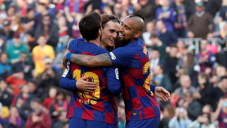 Barcelona golea a Eibar con cuatro tantos de Messi y con Vidal en una inédita posición
