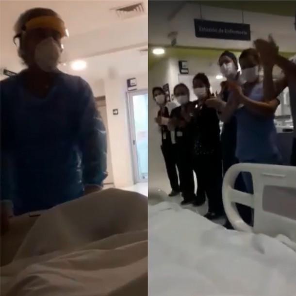 Bajo aplausos: Paciente con coronavirus en Chile graba momento en que sale de la UCI
