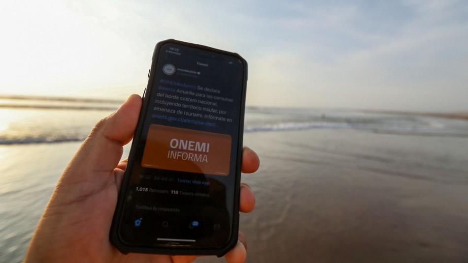 Este es el mensaje que enviará la Onemi a los celulares por tsunami menor en Chile