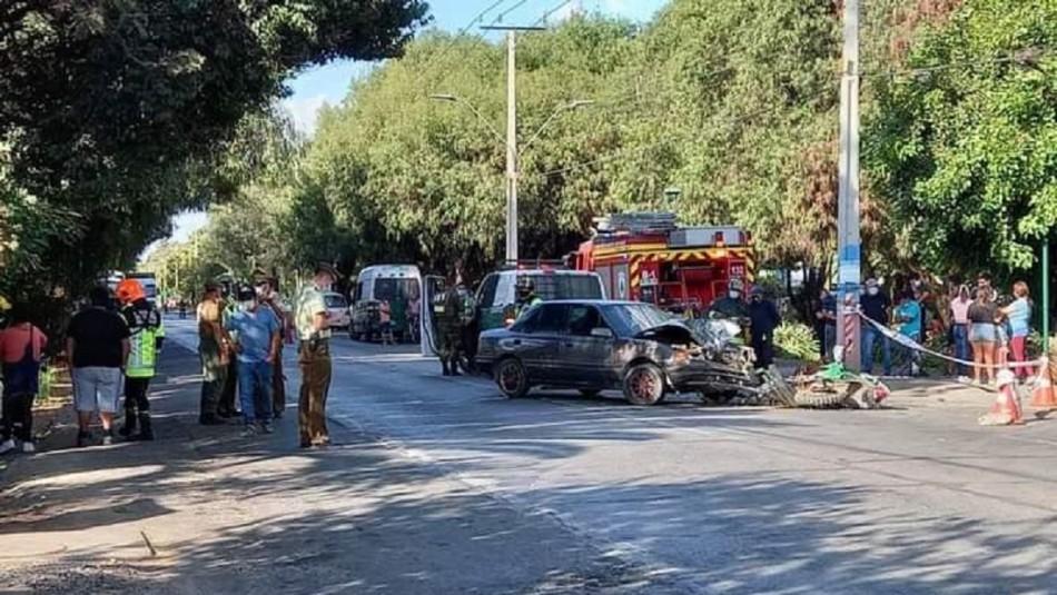 Carabinero termina con lesiones tras chocar en su moto institucional con vehículo particular