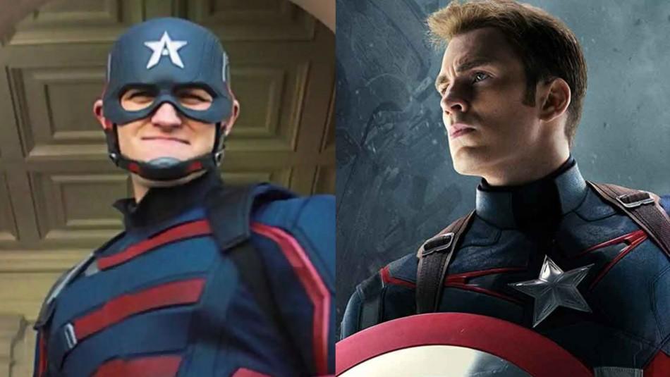 Wyatt Russel y Chris Evans como Capitán América