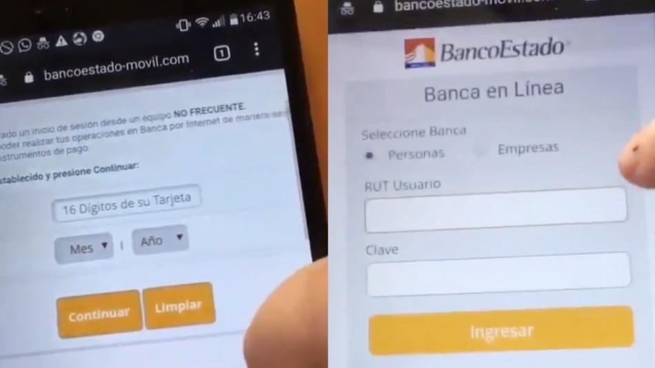 BancoEstado alerta sobre suplantación de su sitio web que exige datos de tarjeta bancaria