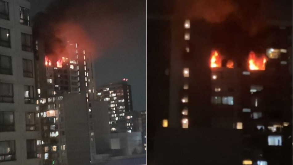 Gran incendio afecta a departamentos en Santiago Centro